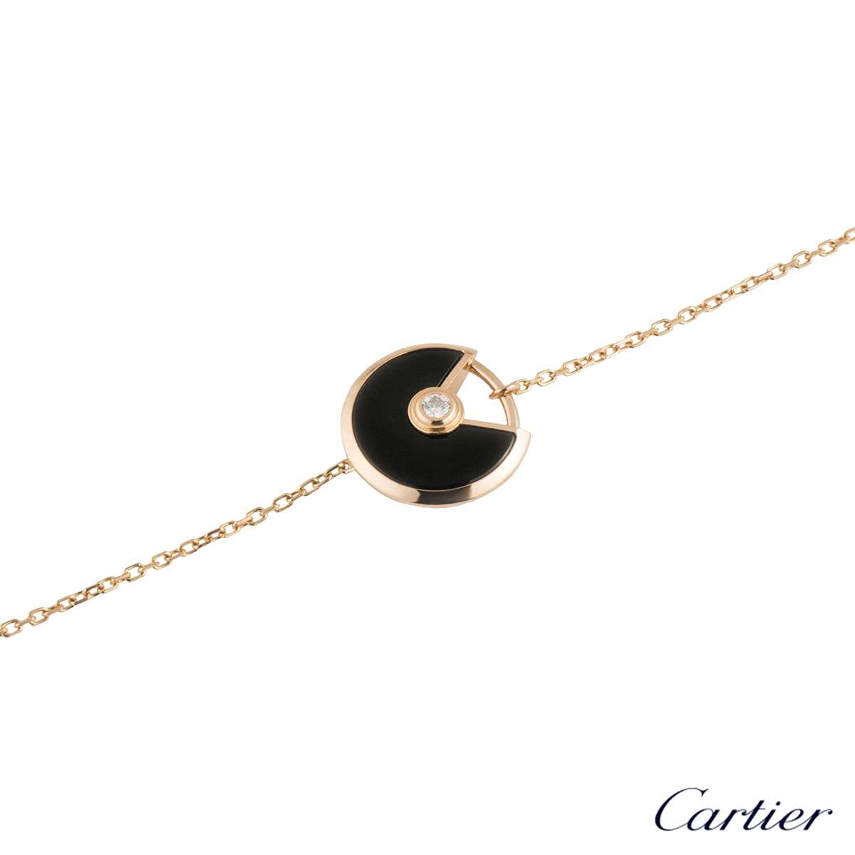 Cartier Rose Gold Diamond & Onyx Amulette XS Bracelet B6044117